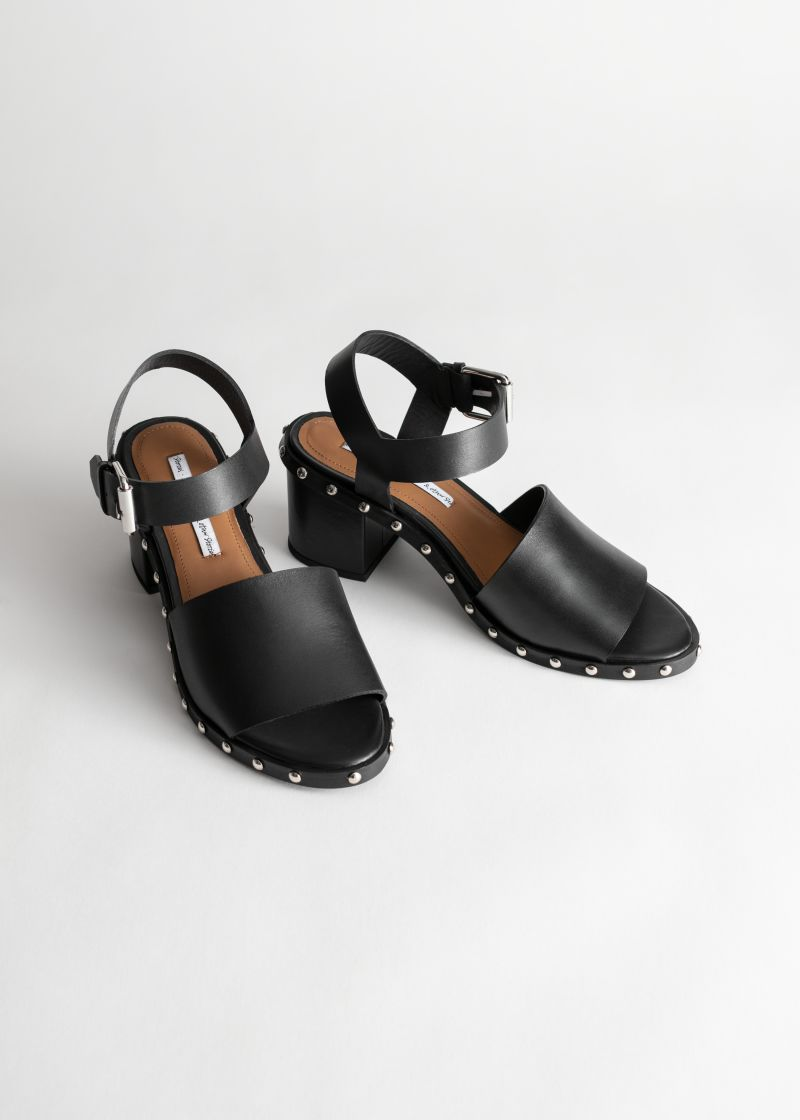 Studded Leather Heeled Sandals