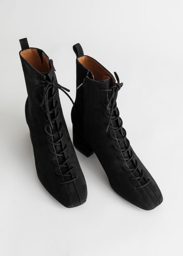 Suede Lace Up Anke Boots