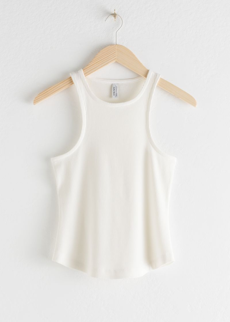 Fitted Racer Back Ribbed Tank Top