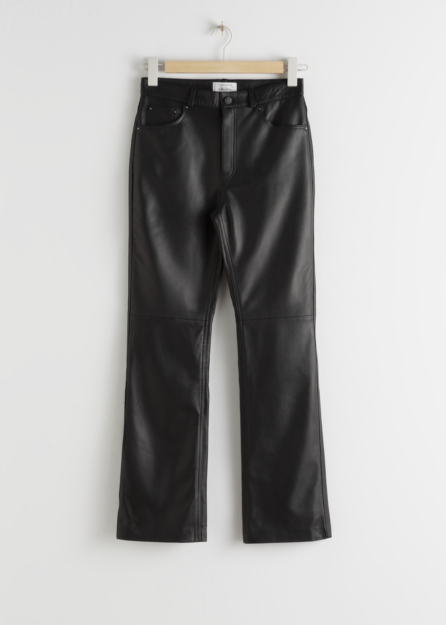 Leather Kick Flare Trousers