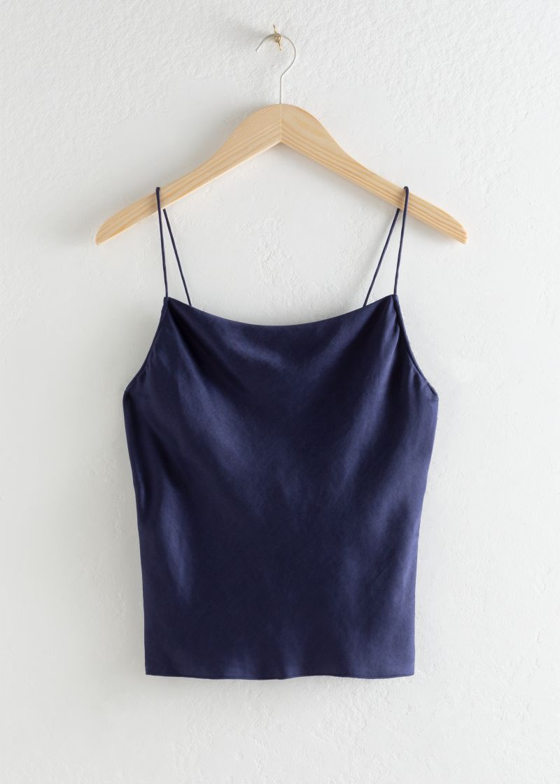 Lyocell Blend Cowl Neck Tank Top