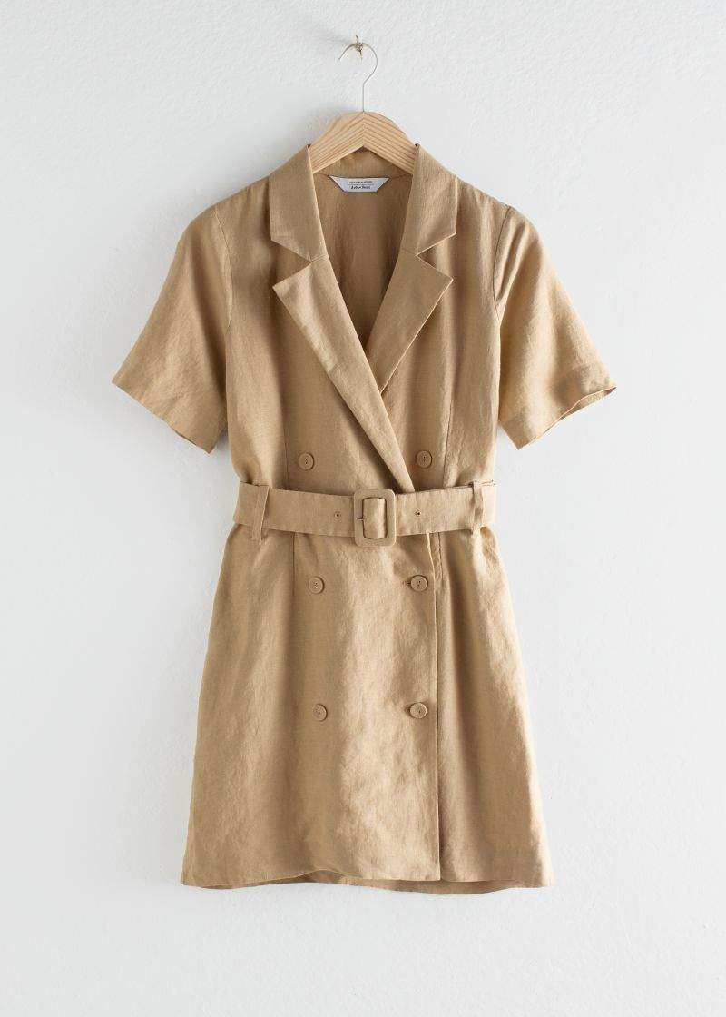 Belted Linen Trench Mini Dress