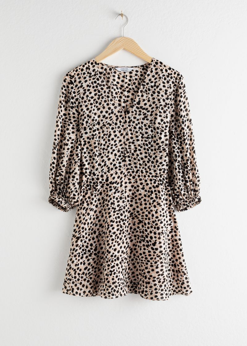 Leopard Lyocell Blend Mini Dress