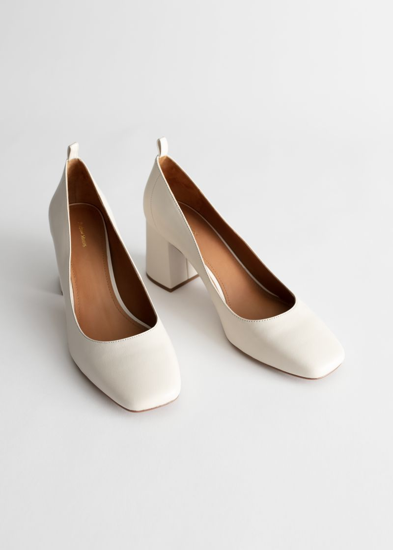 Square Toe Leather Ballerina Pumps