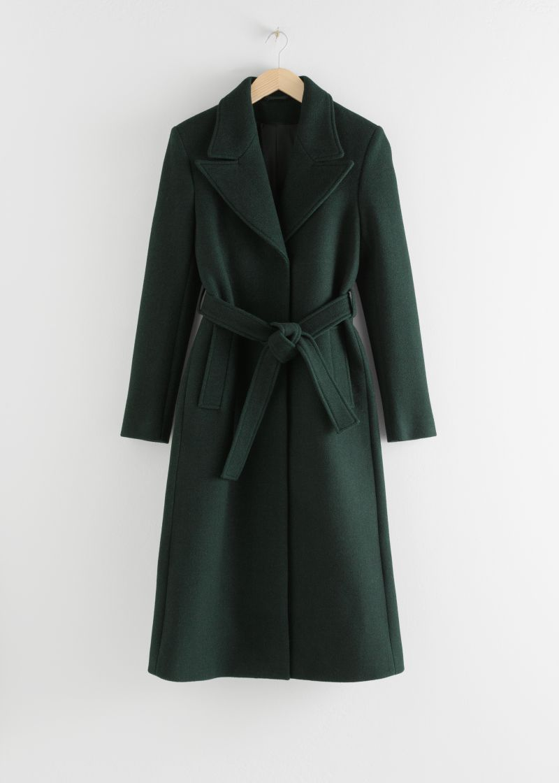 Herringbone Long Belted Coat