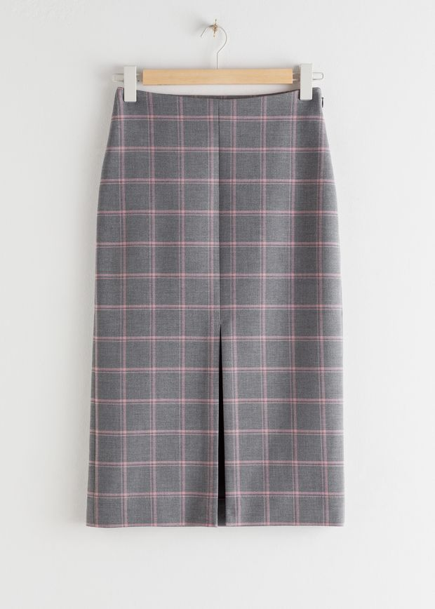 Front Slit Plaid Pencil Skirt