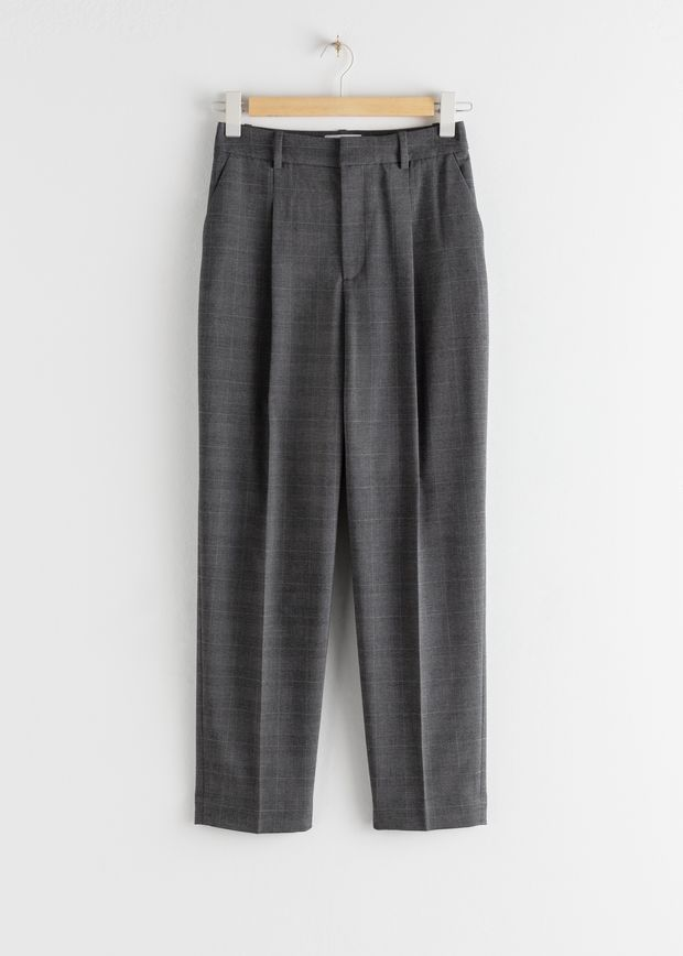 Tailored Plaid Check Trousers