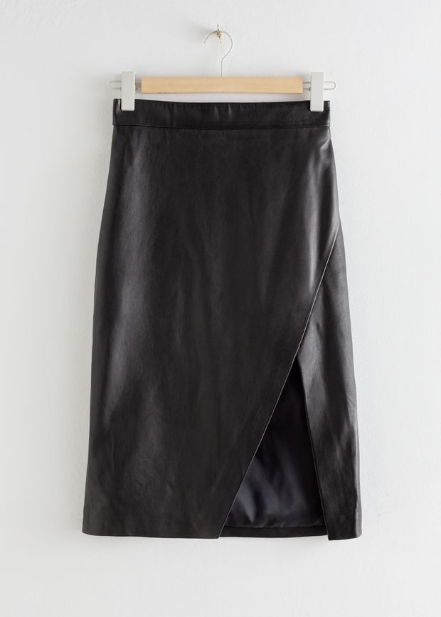 Leather Asymmetric Pencil Skirt
