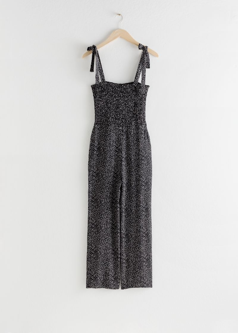 Smocked Polka Dot Jumpsuit