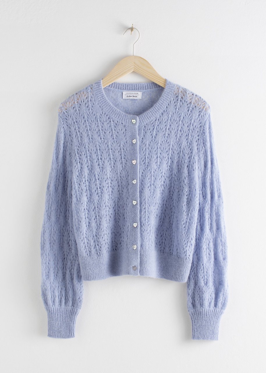 Wool Blend Eyelet Knit Cardigan