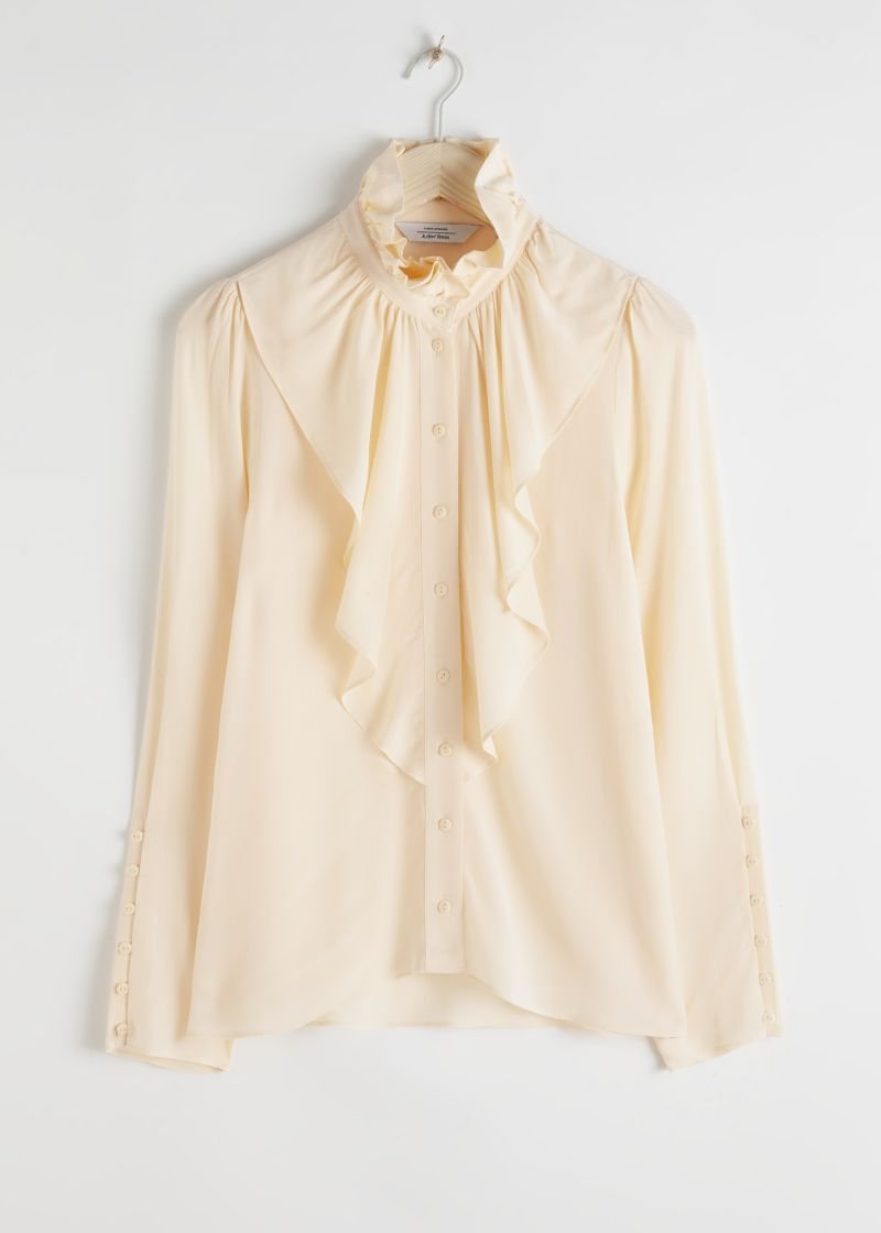 Ruffle Bodice Button Up Blouse
