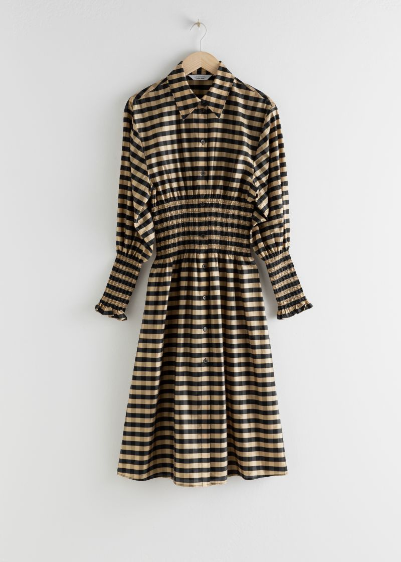 Smocked Plaid Midi Shirt Dress