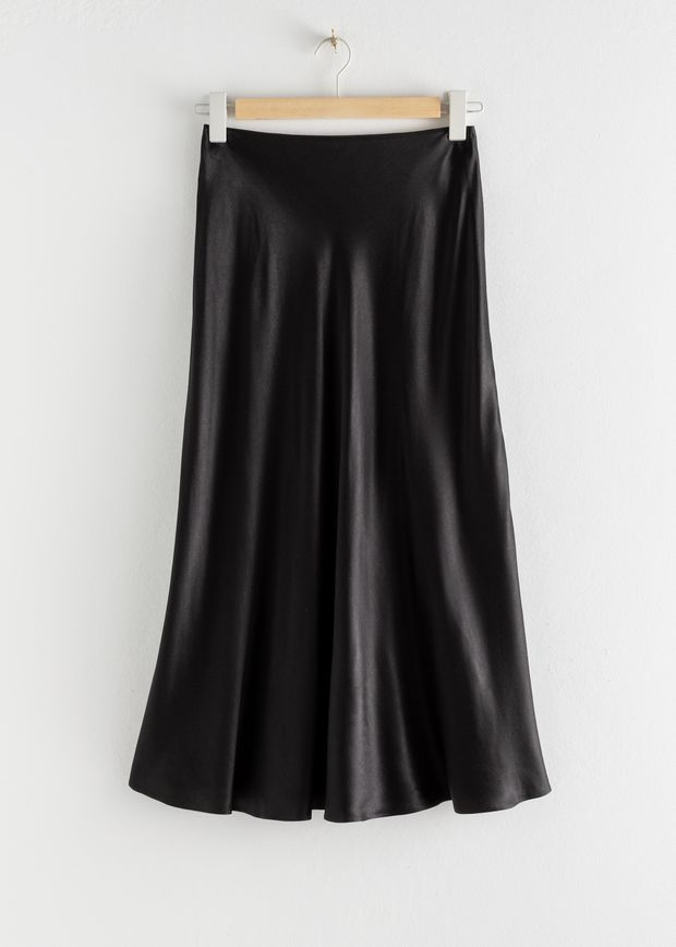 Bias Cut Satin Midi Skirt