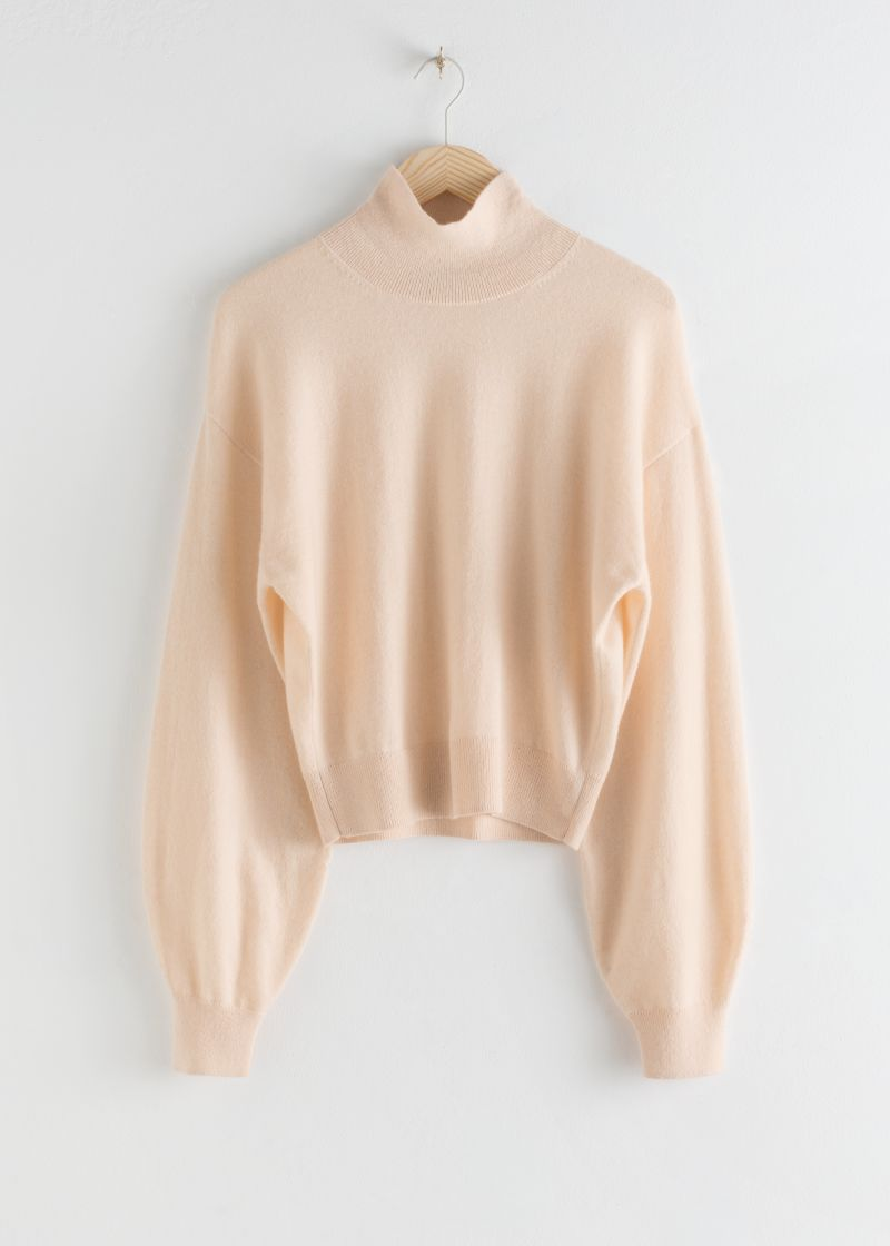 Cashmere Puff Sleeve Turtleneck