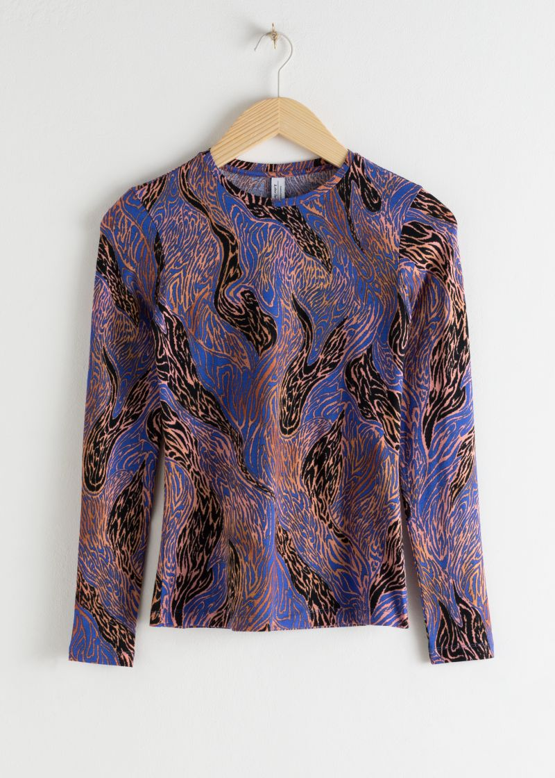 Graphic Print Stretch Cotton Top