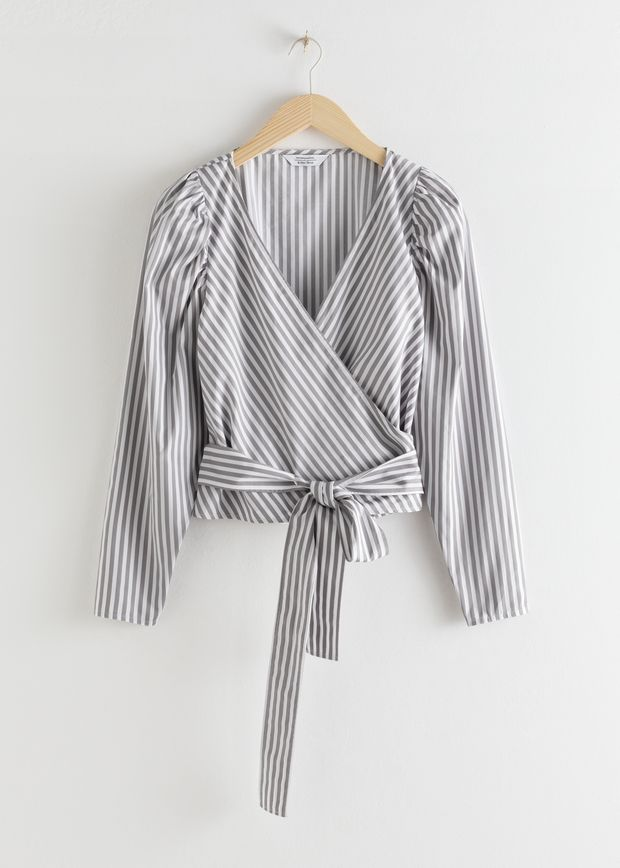Striped Puff Sleeve Wrap Top