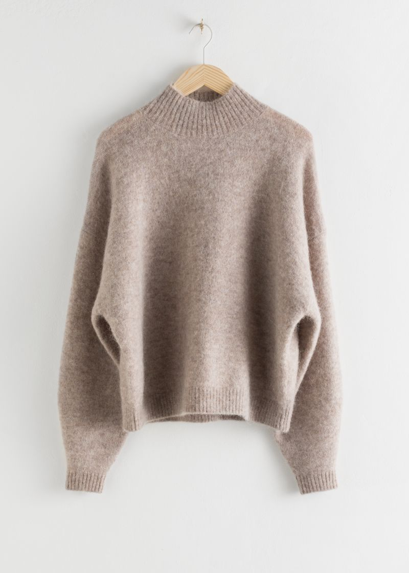 Oversized Fuzzy Wool Blend Sweater