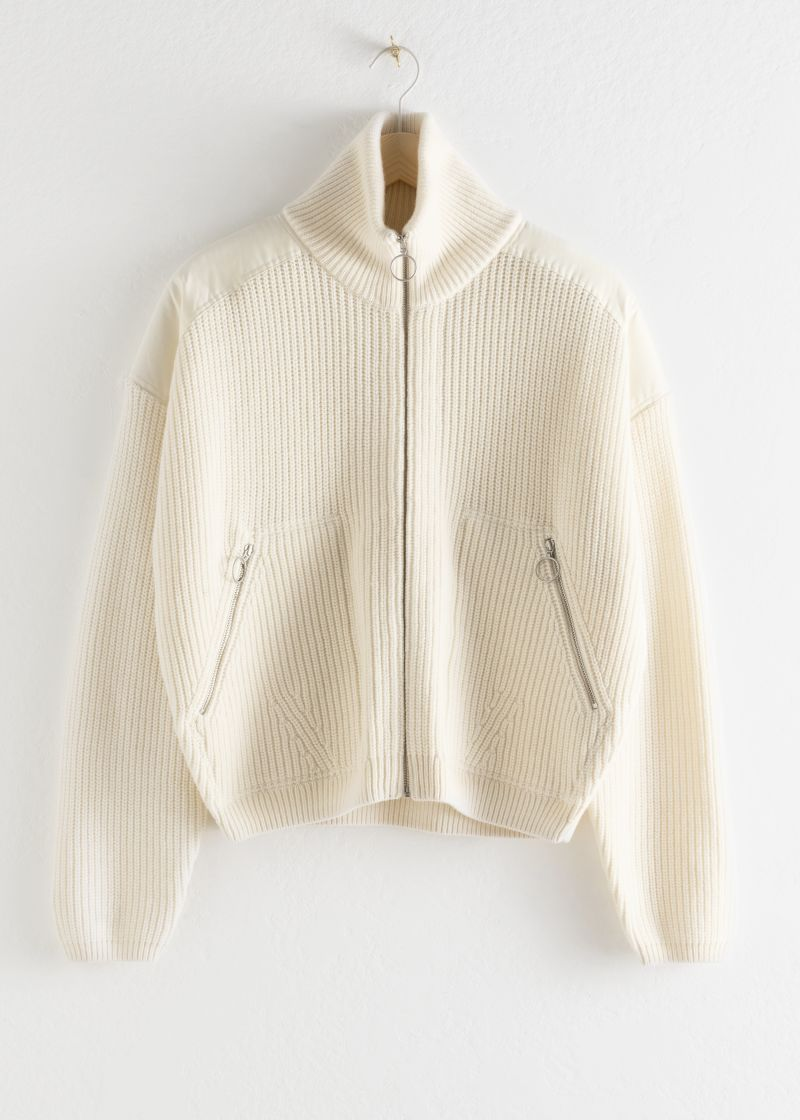 Wool Blend Zip Turtleneck Cardigan