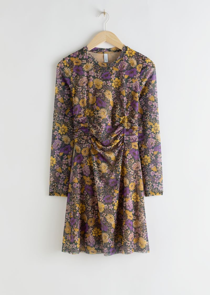 Gathered Waist Floral Mini Dress