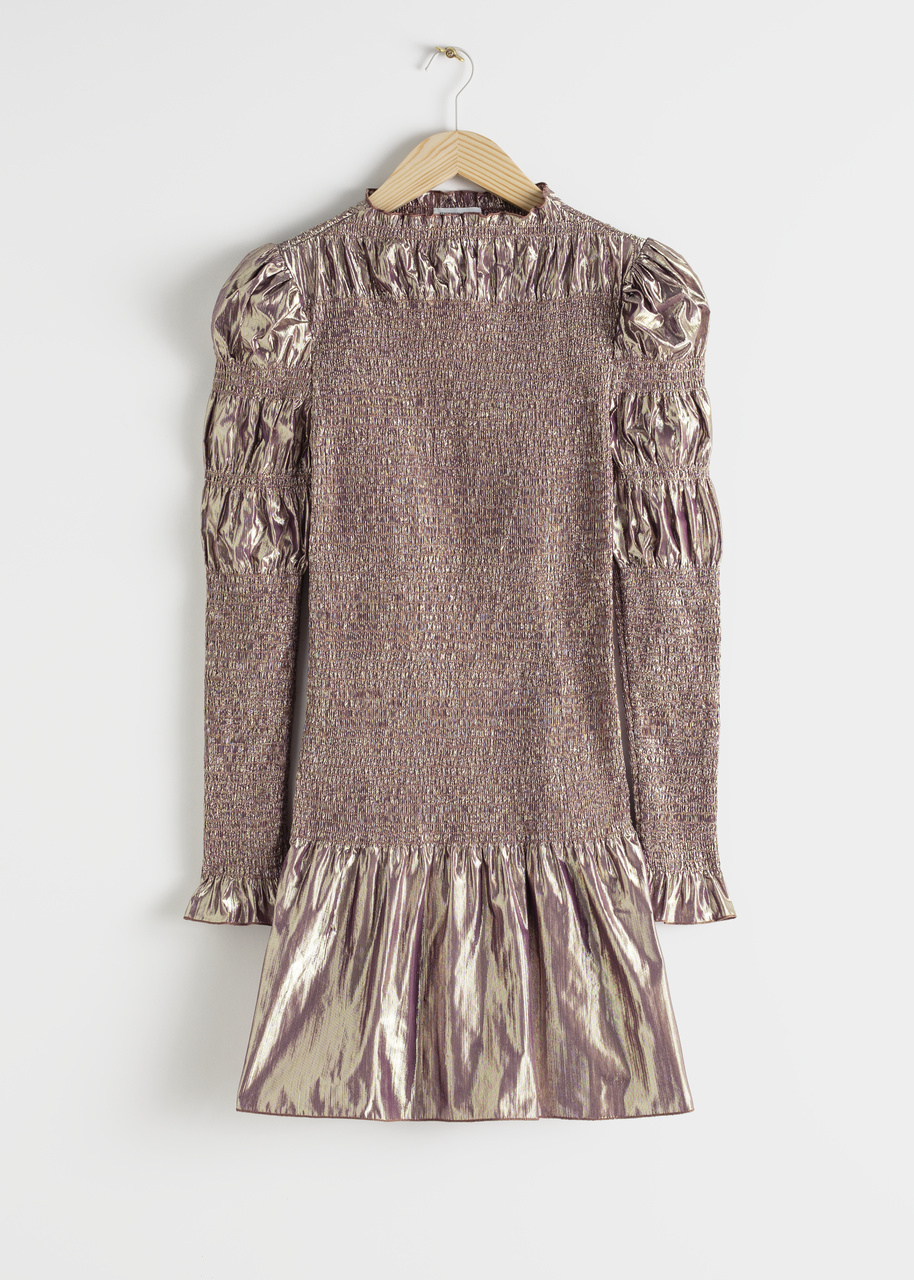 Smocked Metallic Mini Ruffle Dress