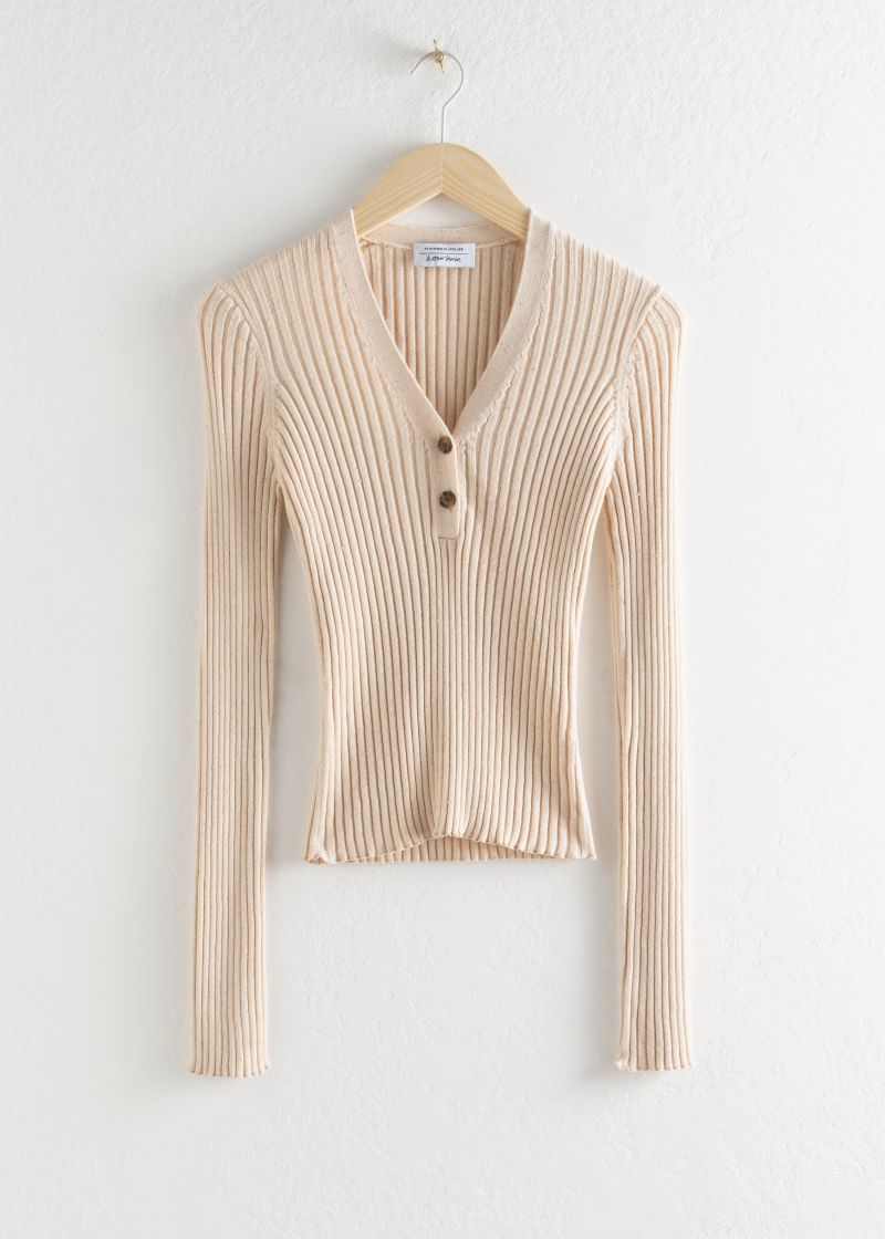 Ribbed V-Neck Knit Top