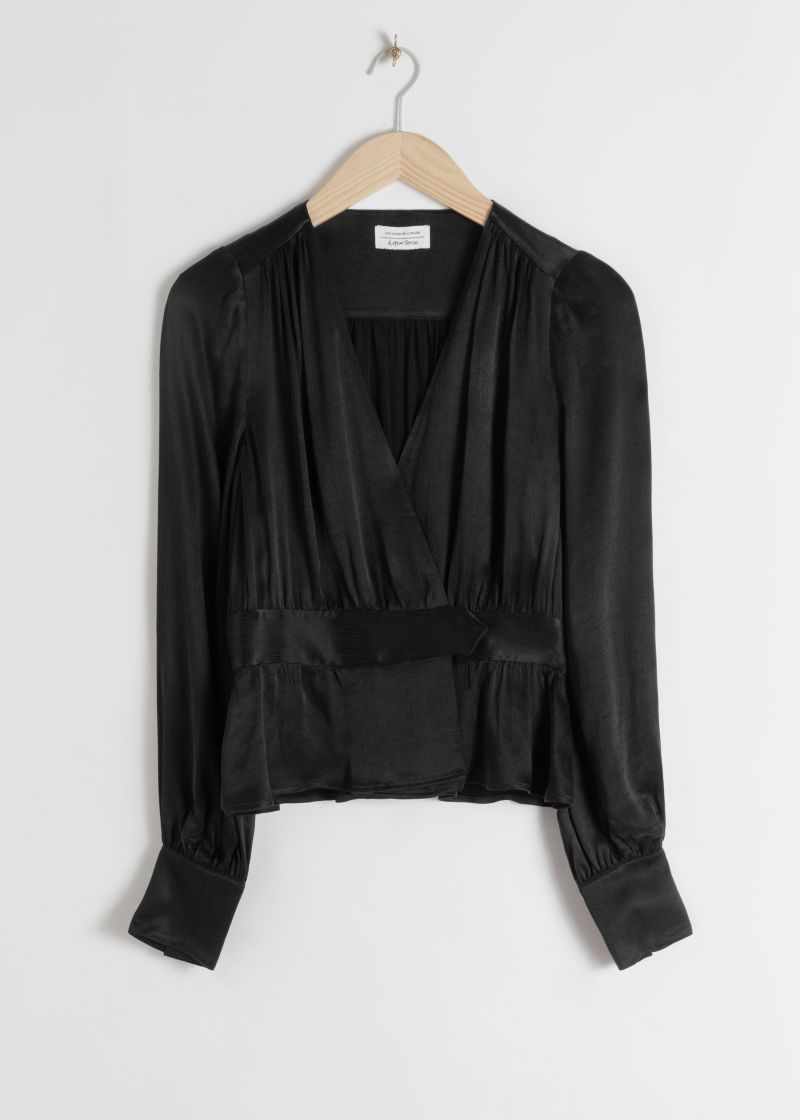 Belted Satin Wrap Blouse