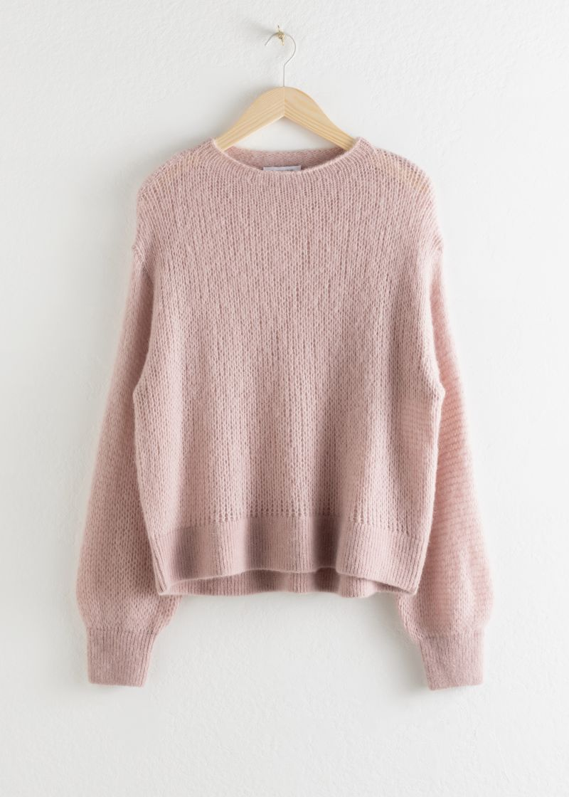 Relaxed Wool Blend Knit Sweater