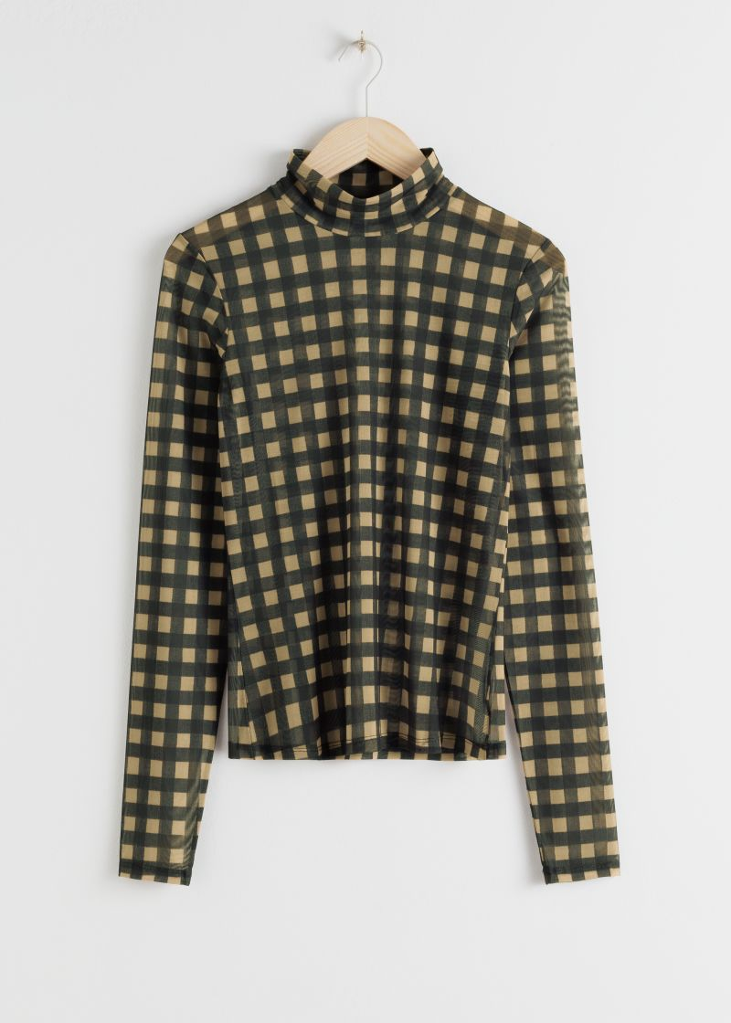 Plaid Check Mesh Turtleneck Top