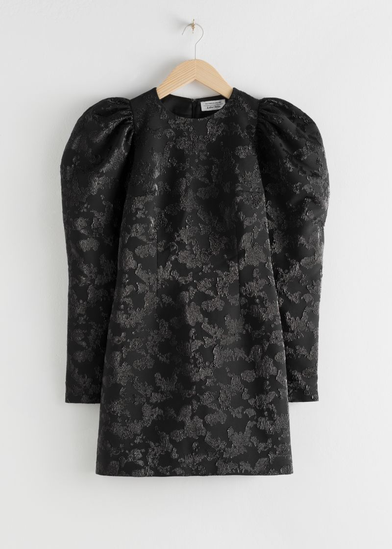 Puff Sleeve Mini Jacquard Dress