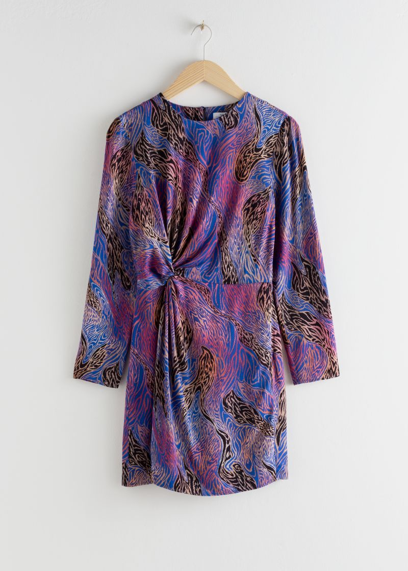 Twist Knot Printed Mini Dress