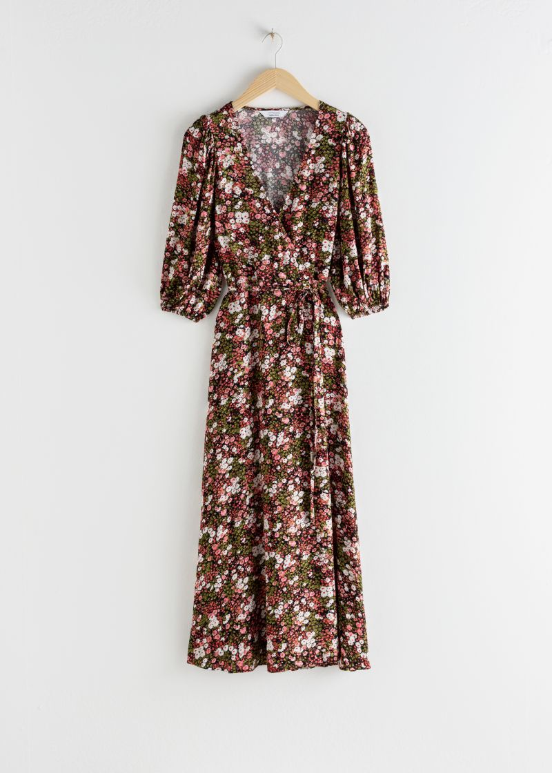 Floral Puff Sleeve Midi Wrap Dress