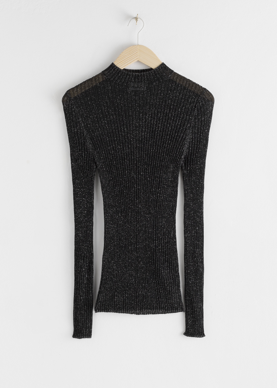 Glitter Ribbed Mock Neck Sweater