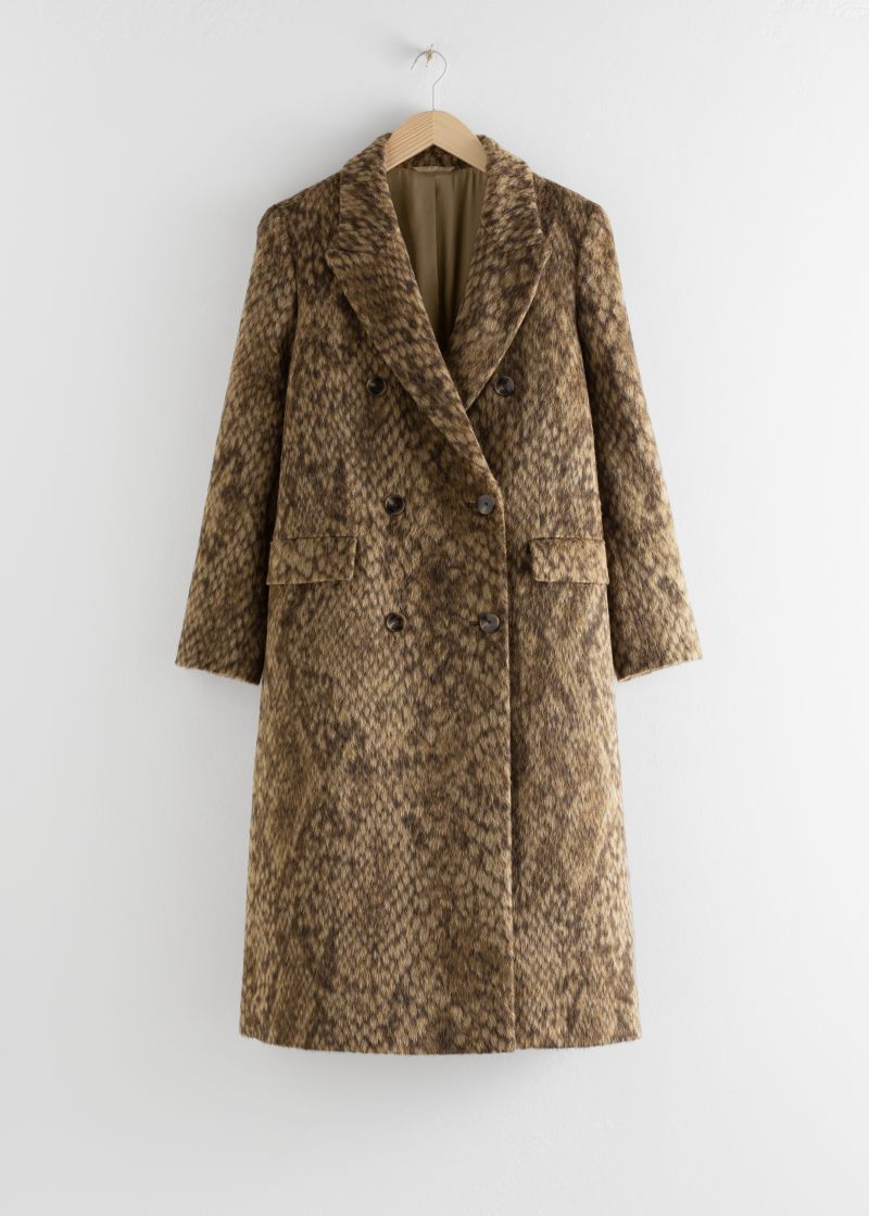 Double Breasted Snake Print Coat