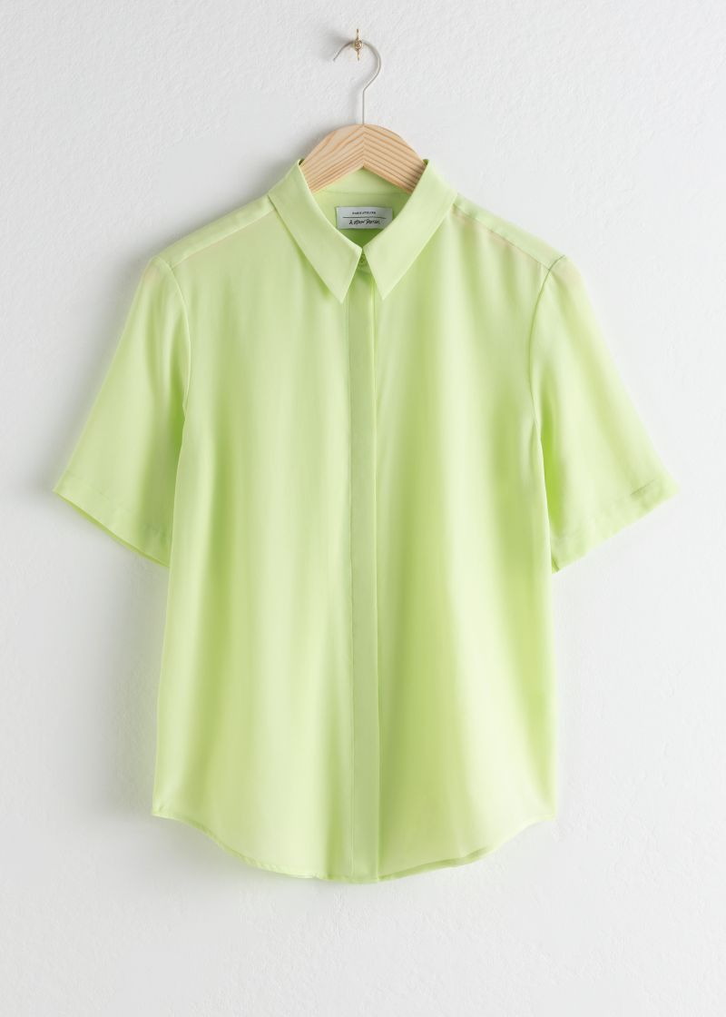 Short Sleeve Silk Button Up