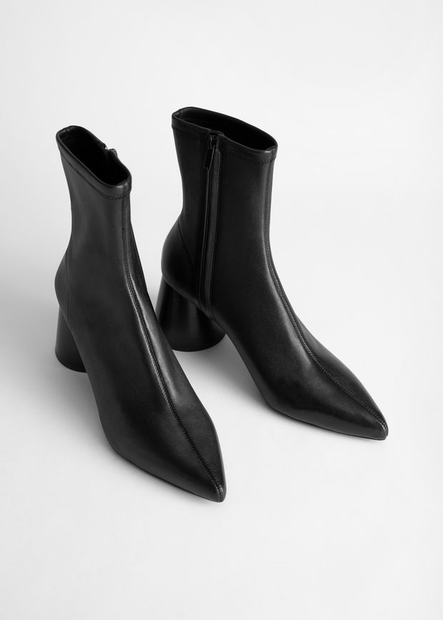 Pointed Leather Sock Boot