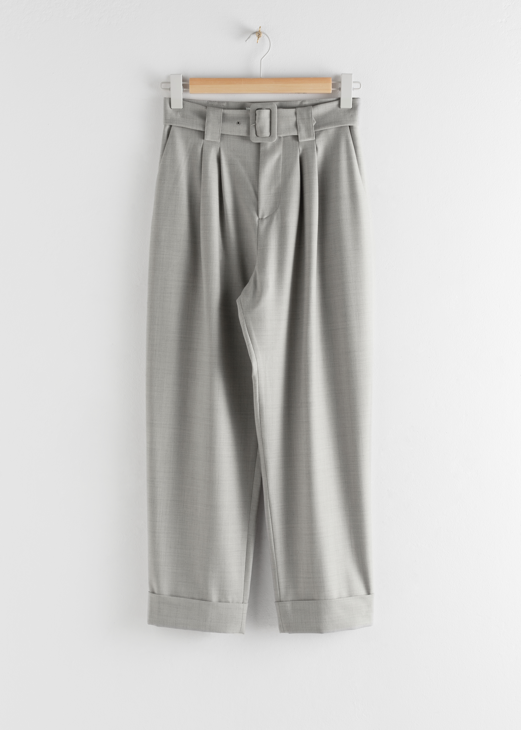 Pleated Square Buckle Belted Trousers