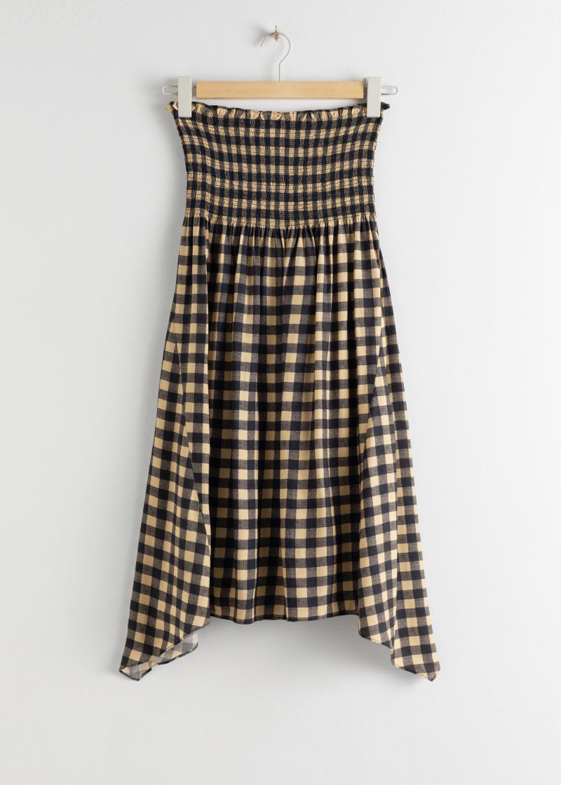 Smocked Waist Plaid Midi Skirt