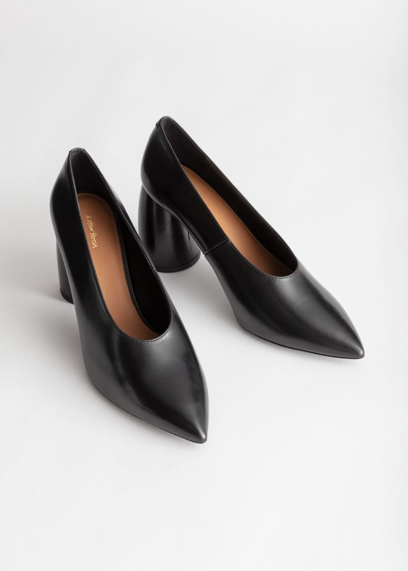 Flared Block Heel Leather Pumps