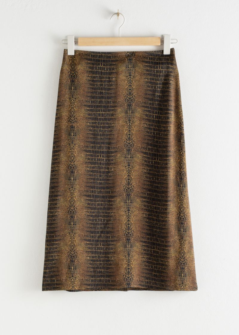 Crocodile Print Midi Skirt