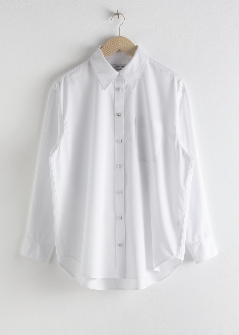 Oversized Pearl Button Cotton Shirt