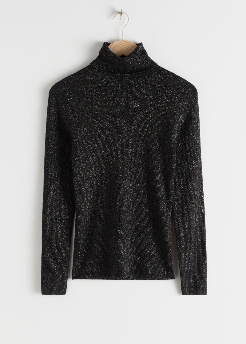 Glitter Ribbed Stretch Turtleneck Sweater