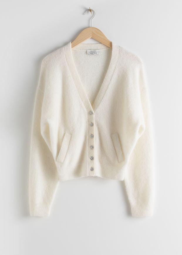Crystal Flower Button Wool Cardigan
