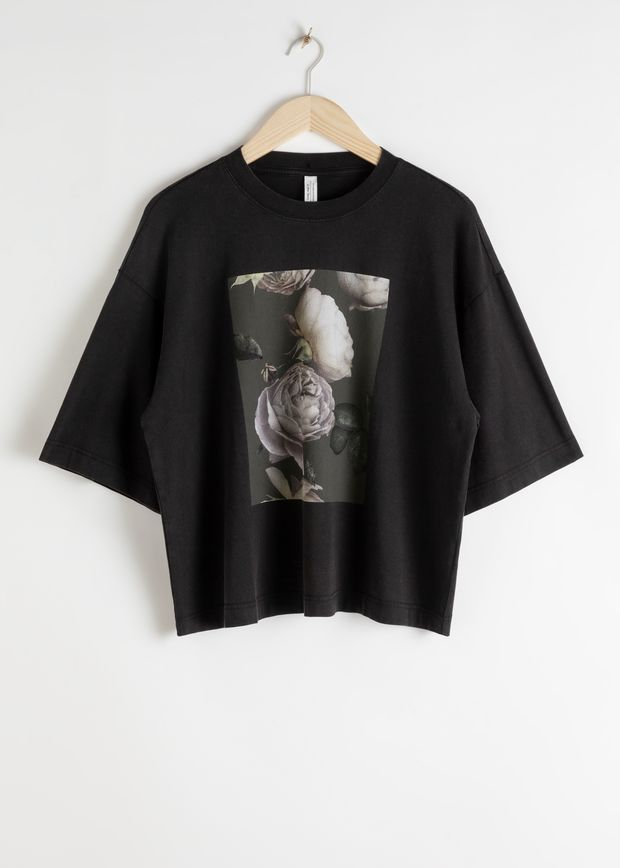 Oversized Rose Print T-Shirt