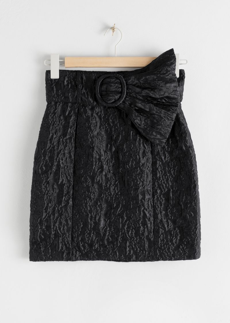 Flared Belt Jacquard Mini Skirt
