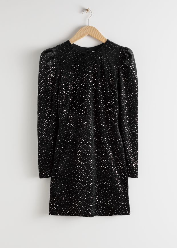Velvet Sequined Mini Dress