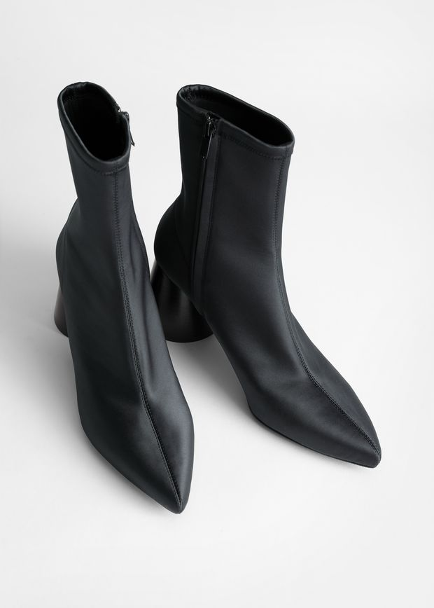 Pointed Satin Sock Boot