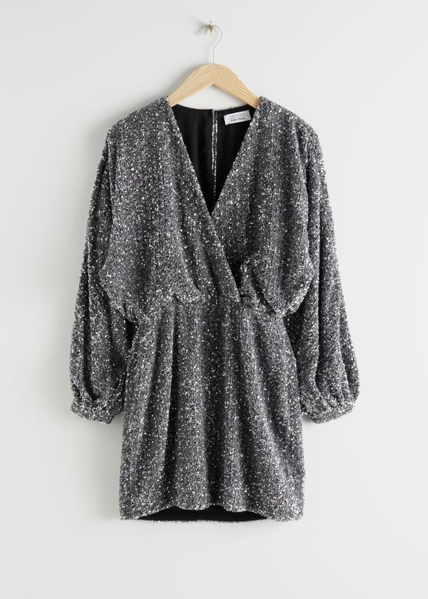 Sequin Mini Wrap Dress