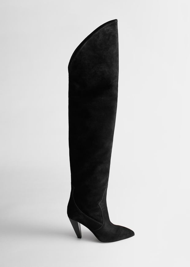 Suede Thigh High Cowboy Boots