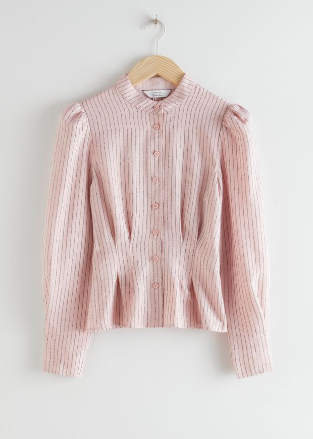 Glitter Striped Button Up Blouse