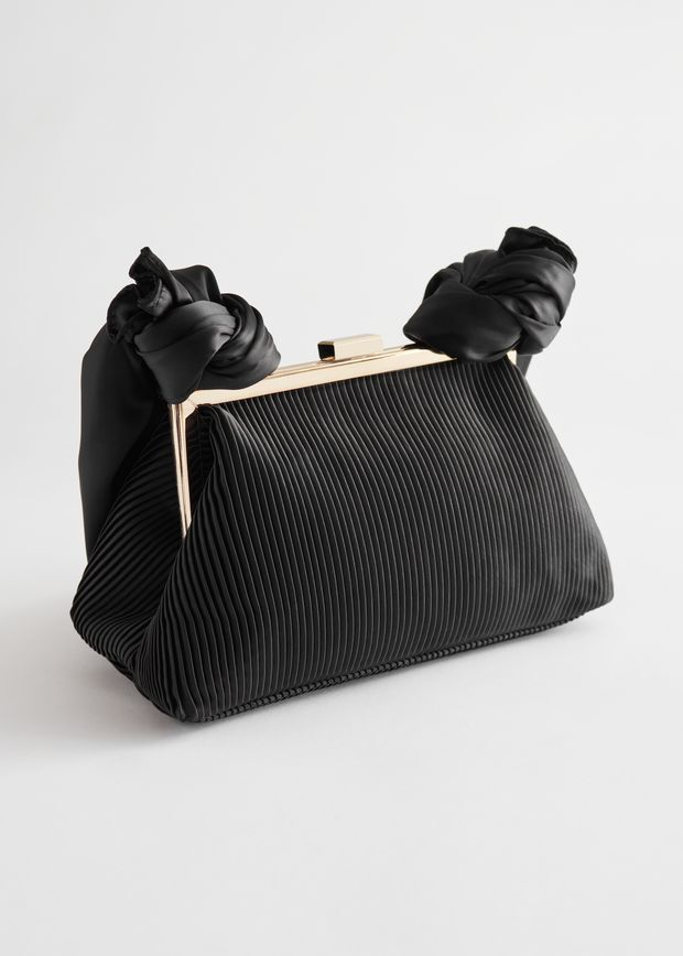 Pleated Satin Knot Handle Bag